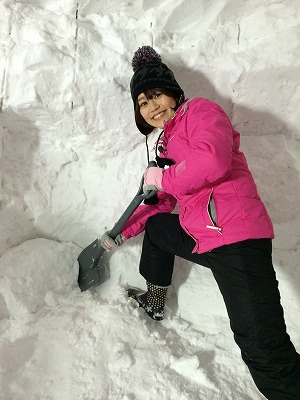 笑顔ですが、雪はカッチカチです!!