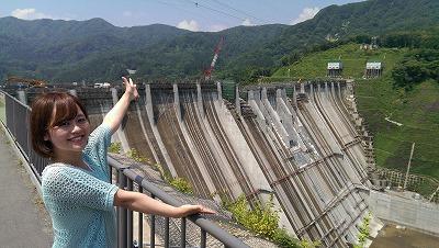 津軽ダムの建設現場でぱしゃり